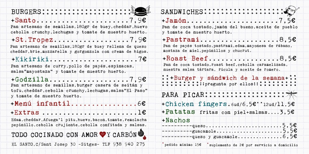 Carta delivery con precios y componentes de las burgers y sandwiches